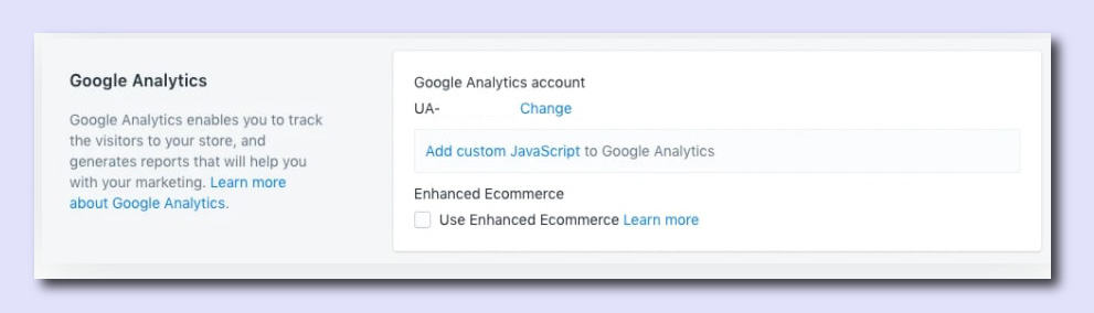add the correct tracking code in the Google Analytics section, how to add google analytics to shopify step 3
