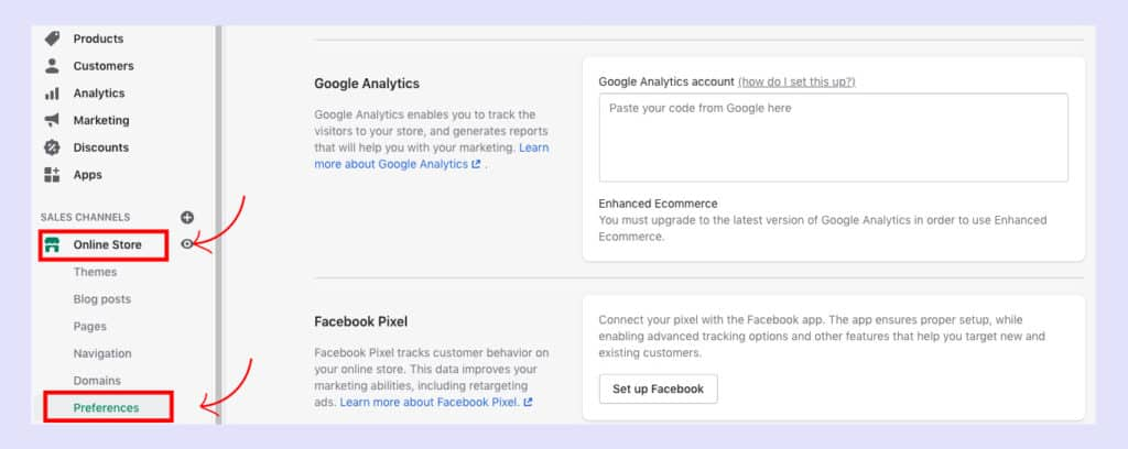 shopify admin panel, choose online store, click preferences
