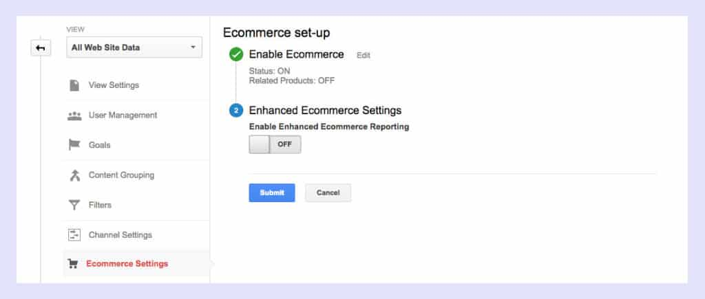 ecommerce settings google analytics to shopify