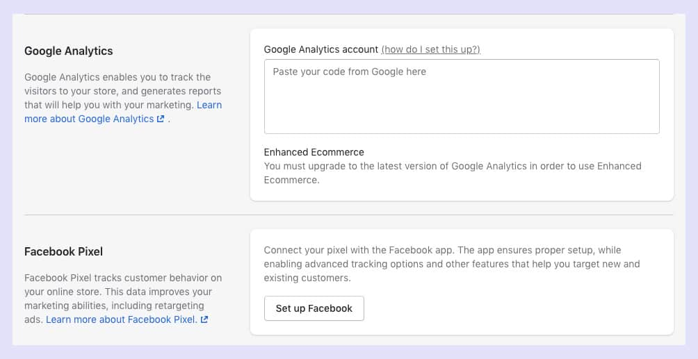 google analytics account, paste your code from Google here, check the GA is available or not