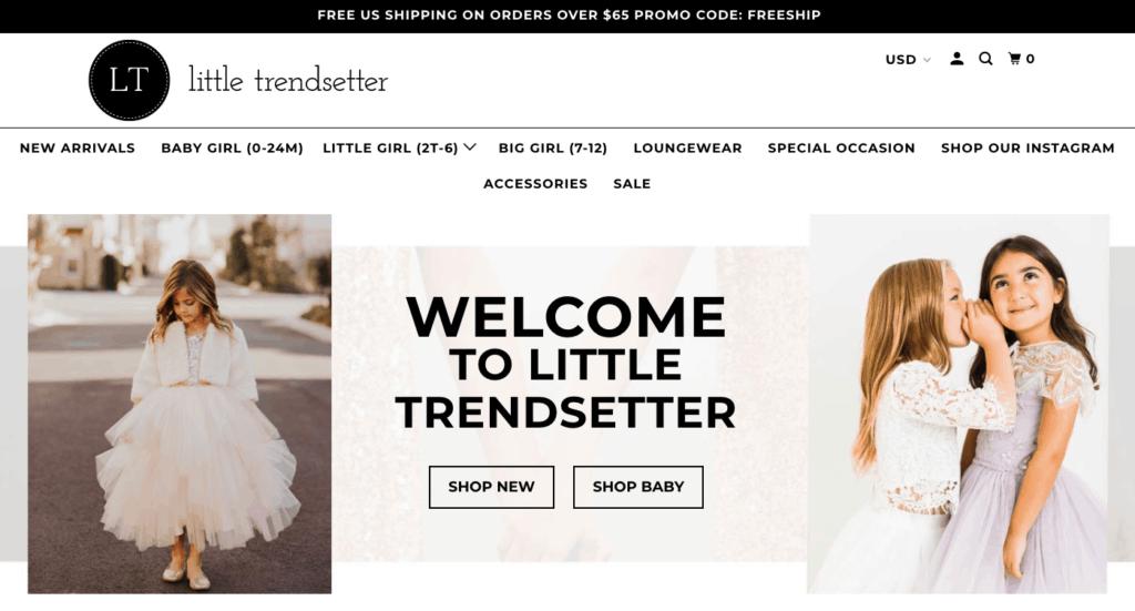 little trendsetter, fashion shopify store for kids