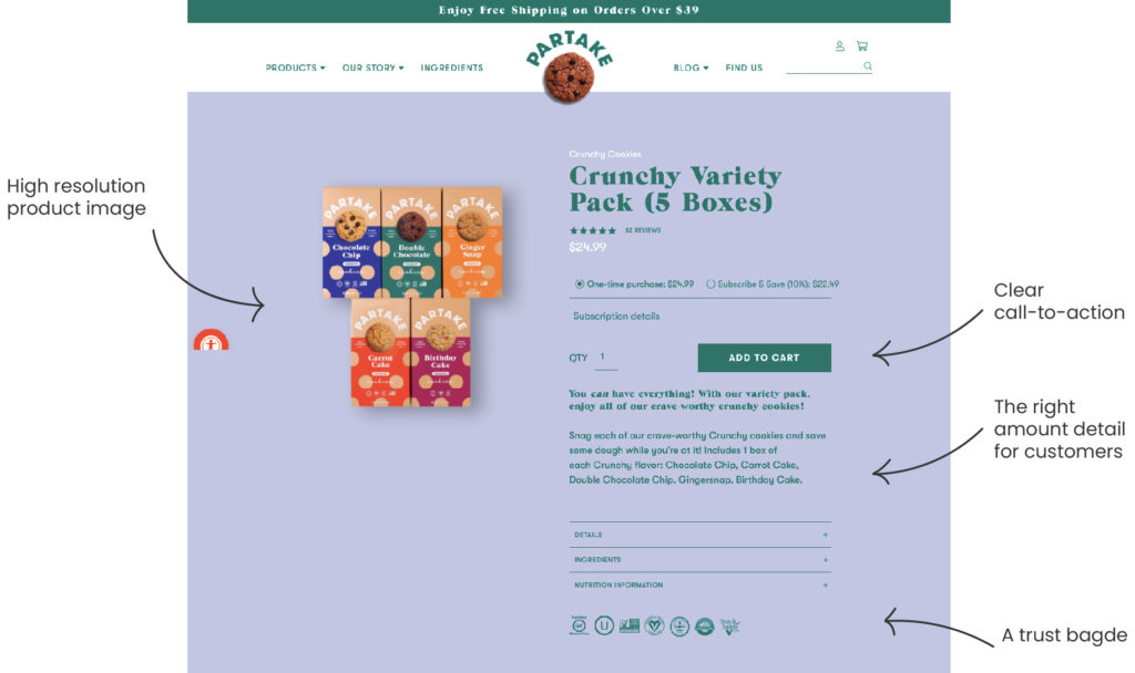 partake foods, shopify product page example, tips to customize product page, customize shopify theme