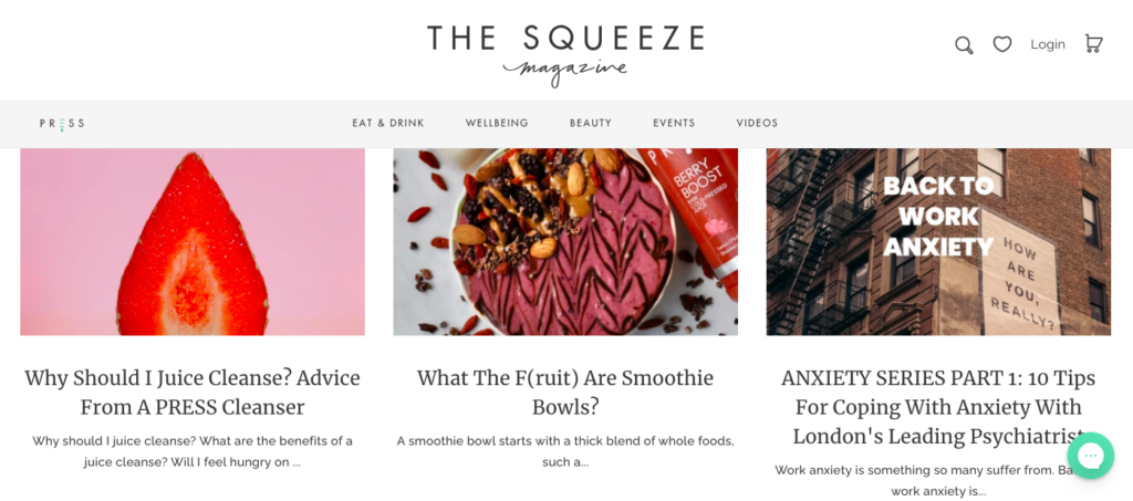 the press squeeze magazine blog, shopify blog examples