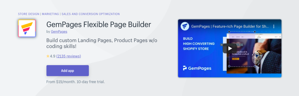 gempages, flexible landing page builder, drag and drop page builder on Shopify, landing page optimization