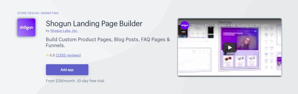 shogun landing page builder