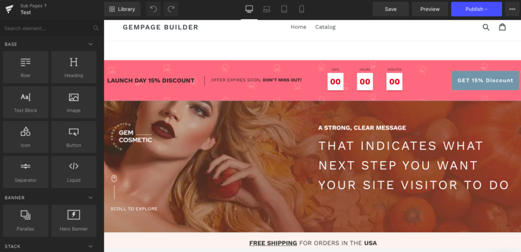gempages Shopify landing page builder