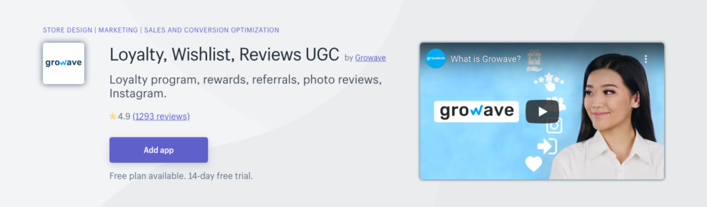 Loyalty, Wishlist, Reviews UGC by growave